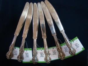 Серебряные ножи, 925 проба, масса 57.43гр, 3159 рублей за 1 шт