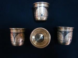 Серебряные стопки, 875 проба, масса 164.11гр, 13.200 рубле