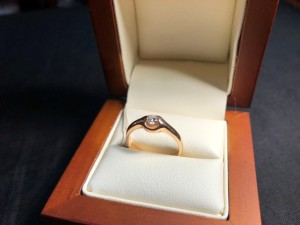 Арт 24-18 Кольцо с бриллиантом, 585 проба, размер 17.5 масса 3.54гр. 17.800 рублей