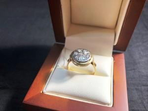 Арт 82-18 Кольцо с бриллиантами, 750 проба, размер 18 масса 5.57гр. 32.000 рублей