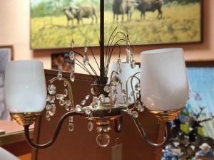 Арт 123-16 Люстра потолочная, на 3 лампочки, медь, стекло.  4460 рублей