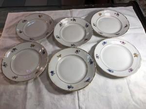 Арт 200-19 Десертные тарелки, фарфор, Вербилки. 6 шт. 2000 рублей