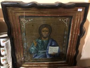 Арт 237-19 Икона писанная на серебре, спаситель в киоте. Конец 19 века. 28.000 рублей