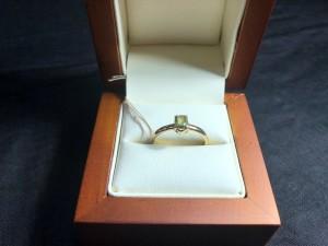 Арт 286-19 Кольцо с демантоидом, 585 проба, размер 17,5 масса 2.24 гр. 33.500 рублей