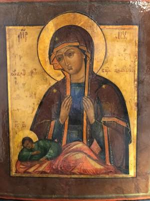 Арт 355-18 Икона писанная Богородица, реставрация.  47.000 рублей