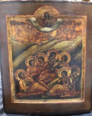 Арт 355-18 Икона писанная, дерево, масло, реставрация. Семь спящих отроков  60.000 рублей