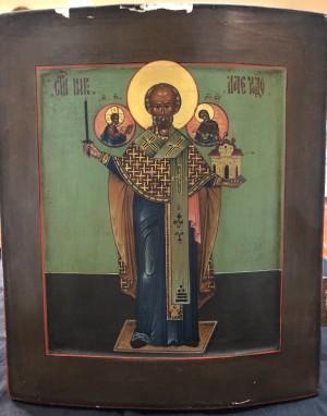 Арт 355-18 Икона писанная, дерево, масло, реставрация. Николай Чудотворец  113.500 рублей