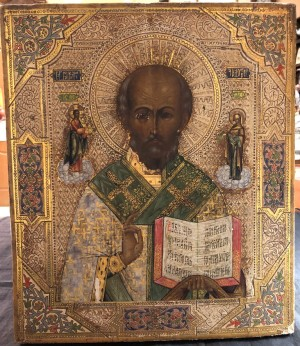 Арт 355-18 Икона писанная, дерево, золото, масло, реставрация. Николай Чудотворец  107.000 рублей