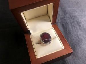 Арт 172-20 Кольцо с бриллиантами и рубином(синтетика), 585 проба, размер 17, масса 8.48 гр. 65.000 рублей