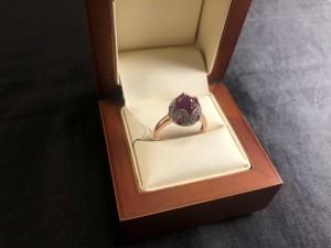 Арт 38-21 Кольцо с бриллиантами рубинами(синтетика), 585 проба, размер 19, масса 6.17 гр. 22.000 рублей