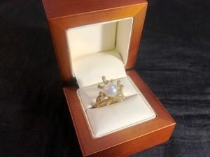 Арт 023823-21 Кольцо с жемчугом и бриллиантами, 585 проба, размер 18,5 масса 9.53гр. 30.000 рублей