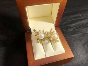 Арт 023824-21 Серьги с жемчугом и бриллиантами, 585 проба, масса 13.48гр. 40.640 рублей