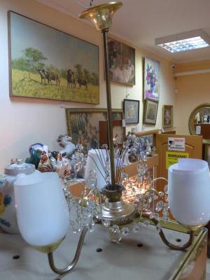 Люстра на 3 рожка (медь, стекло) 1950-60х годов. 4,460 рублей