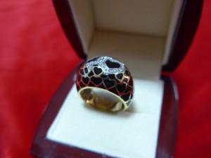Арт 444-16 Кольцо с бриллиантами и эмалью, 585 проба, размер 18.5, масса 11.56 гр. 21.500 рублей
