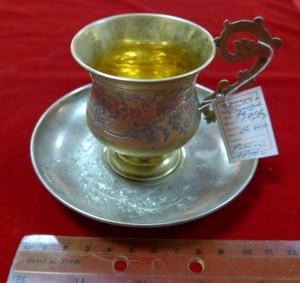 Арт 507-14 Чашка и блюдце, серебро 84 пробы, вес 171.5гр.  60.000 рублей
