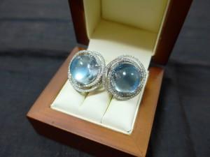 Арт 70-17 Серьги с топазами и бриллиантами, 585 проба, масса 18.91гр. 40.000 рублей