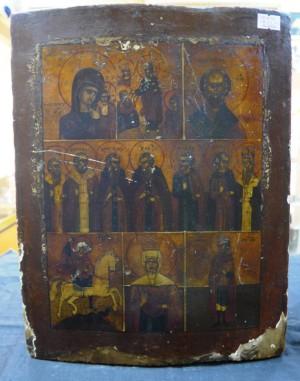 Арт 116-16 Икона многочасная Казанская божья мать, Николая Чудотворец, Святой Георгий. 6200 рублей