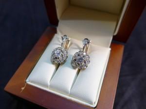 Арт 106-17 Серьги с бриллиантами, 585 проба, масса 4.73 гр.  63.000 рублей