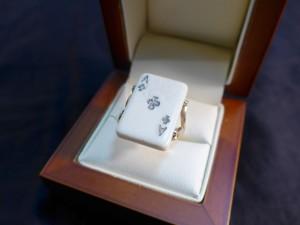 Арт 173-17 Кольцо карта, кость, 585 проба, размер 18,5 масса 5.89 гр. 36.000 рублей
