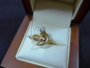 Арт 106-17 Кольцо с бриллиантом, 750 проба, размер 17,5 масса 2.99 гр. 23.500 рублей