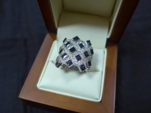Арт 200-17 Кольцо с бриллиантами и сапфирами, 750 проба, размер 19,5 масса 13.49гр. 54.000 рублей