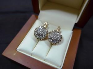 Арт 291-17 Серьги с бриллиантами, 583 проба, масса 6.84гр. 78.000 рублей