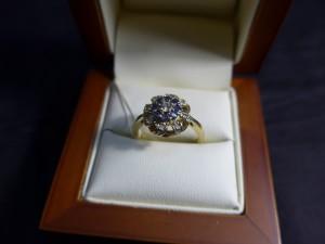 Арт 11-18 Кольцо с бриллиантами и сапфирами, 585 проба, размер 17.5 масса 4.10гр. 20.000 рублей