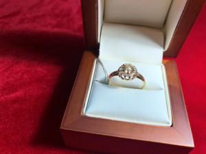 Арт 159-18 Кольцо с алмазами, 56 проба, размер 17.5 масса 2.35гр. 40.000 рублей
