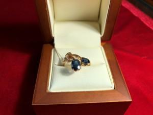 Арт 0-18 Кольцо с алмазами и сапфиром, 56 проба, размер 17.5 масса 3.45гр. 57.000 рублей