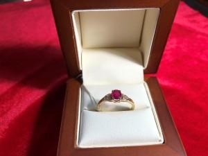 Арт 256-18 Кольцо с алмазами и рубином, 56 проба, размер 18.5 масса 2.48гр. 51.000 рублей