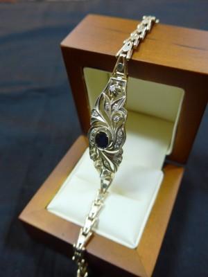 Арт 368-16  Браслет, бриллианты с сапфиром. 585 проба, масса 13.20 гр. размер 17. 120.000 рублей