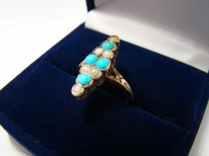 Кольцо бирюза с жемчугом, 56 проба, размер 17, масса 3.25гр. 20.000 рублей