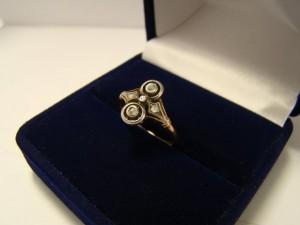 Арт 240-14 Кольцо с алмазами, 56 проба, размер 17.5, масса 1.76гр. 42.000 рублей